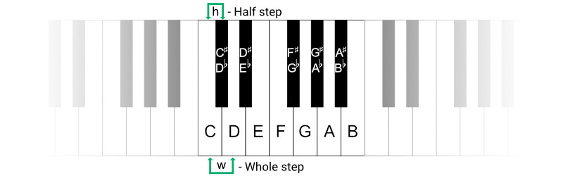 Whole step and half step interval on piano keyboard